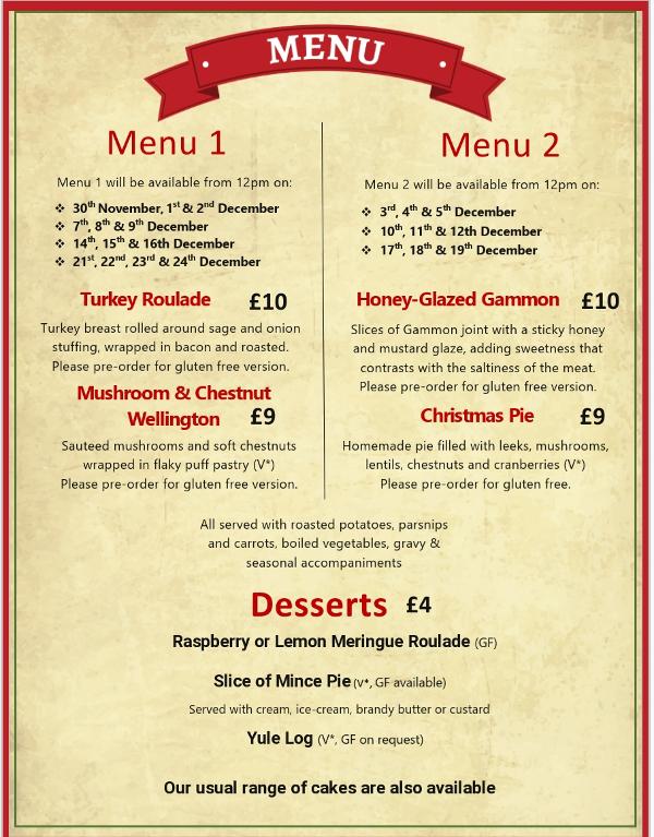 Christmas lunchtime menu - menu 1 and menu 2
